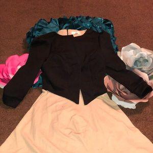 Black and Tan dress faux jacket